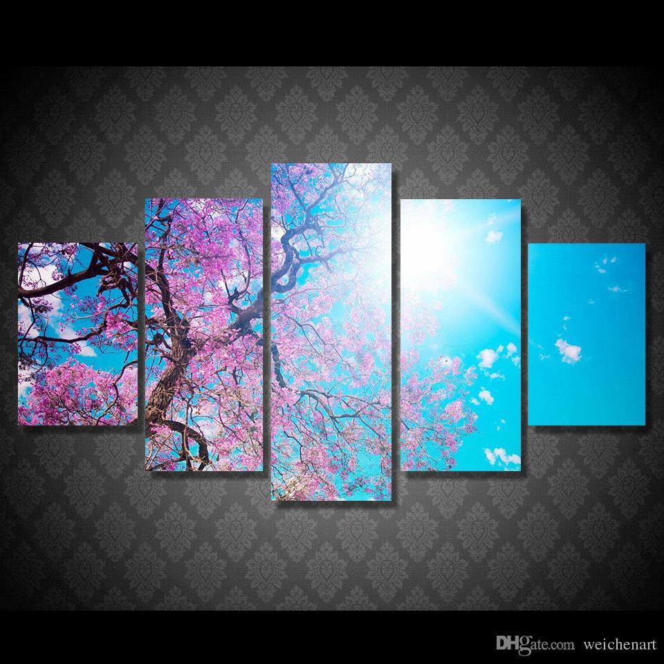 5 Paneli HD Baskılı Sakura ağacı Sunshine Tuval Odası Dekor poster resim Modern Tuval Sanat Çiçek Boyama Baskı Boyama