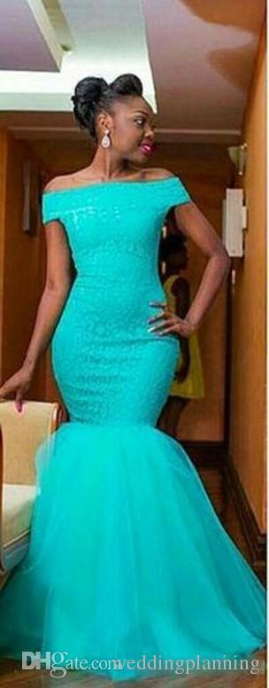 Горячая Южная Африка Стиль Нигерийский Платья Невесты Плюс Размер Русалка Фрейлина Платья Для Свадьбы С Плеча Бирюзовый Тюль Платье