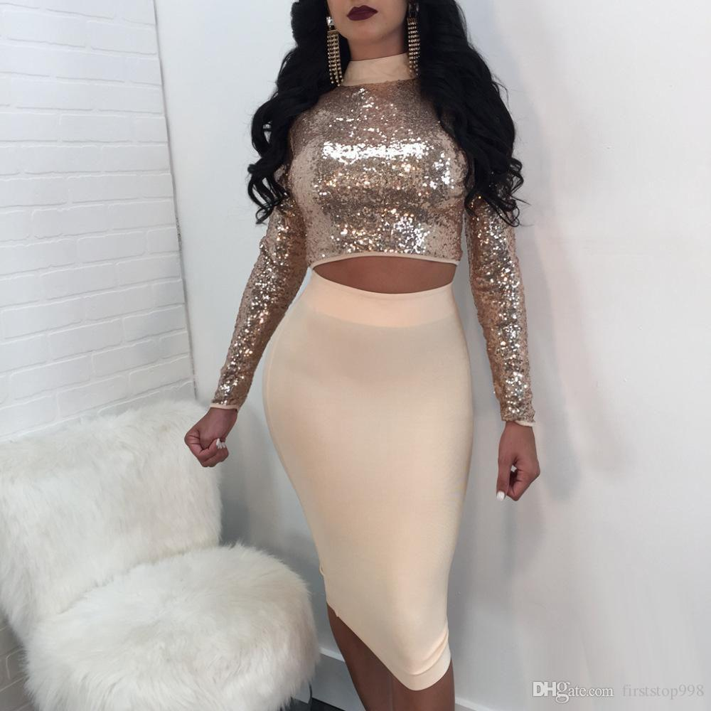Lace up sequins bandage dress suit summer Long Sleeve set women Sequin crop top and skirt Ladies sexy Nightclub wear set