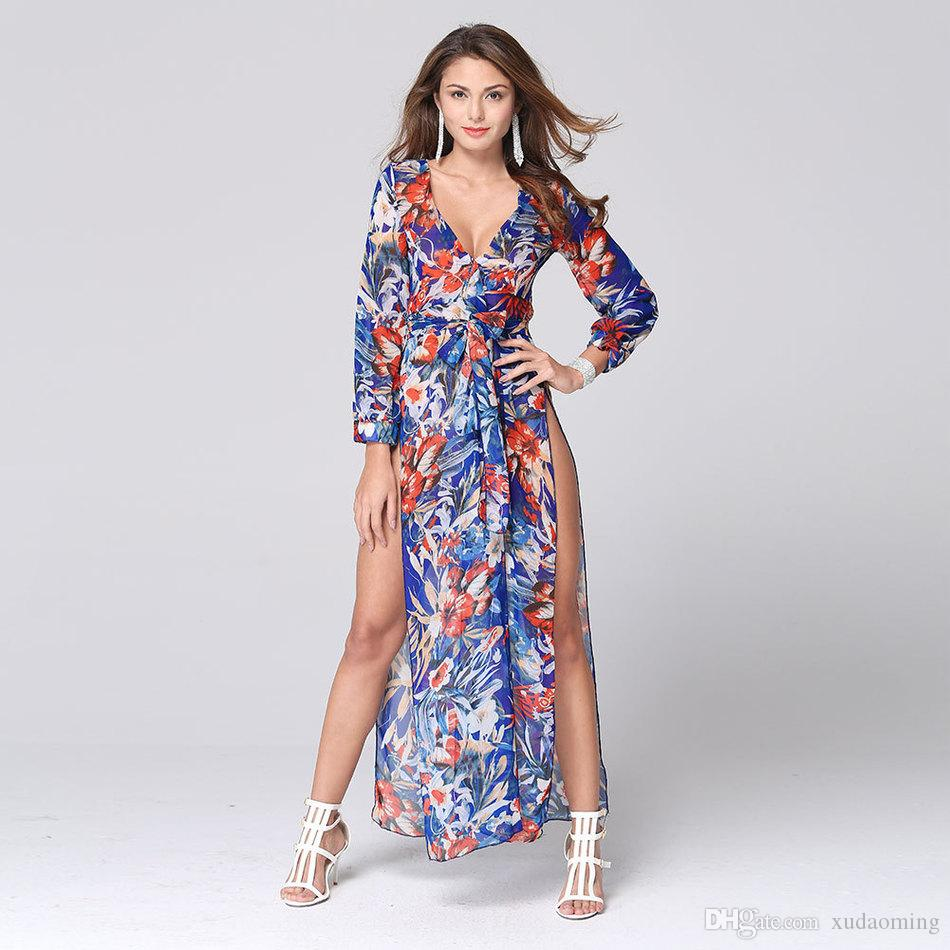 Explosive 2016 Sexy V Lead Summer Wear Vent Printing Chiffon Sandy Beach Longuette Casual Work Maxi Dress Long Sleeves Bodycon Dresses