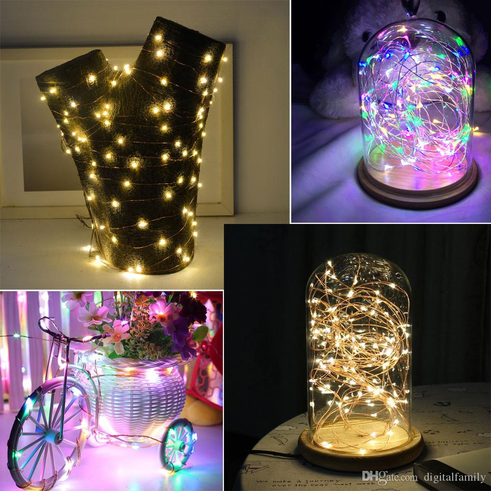 Copper Silver Wire LED String lights 1M 2M 3M 5M 6M 10M Waterproof Holiday LED Strip For Fairy Christmas Tree Wedding Party Halloween