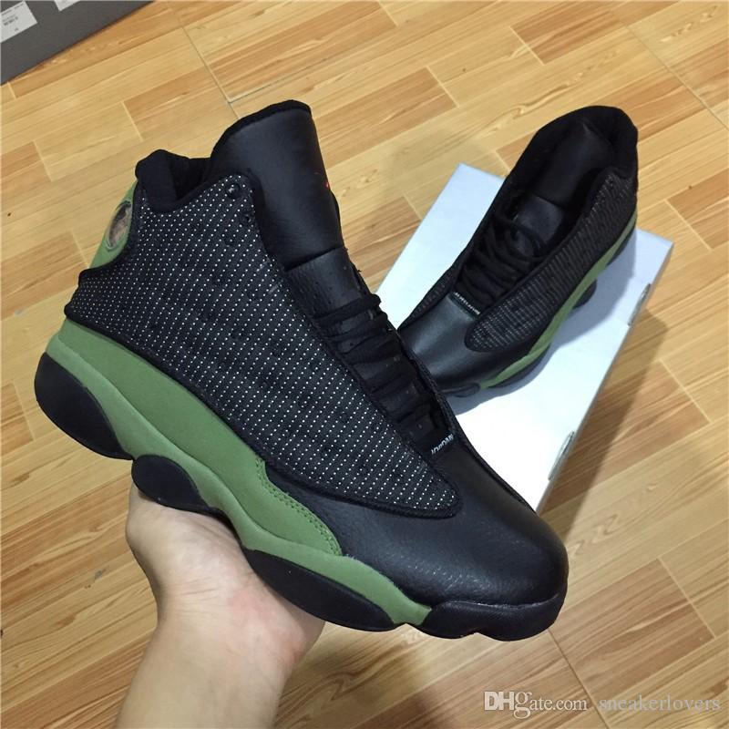 Con caja de calidad superior al por mayor 13 GS Bordeaux Athletic zapatos de baloncesto zapatos para hombre verde oliva negro verde del ejército Italia zapatillas de deporte azules