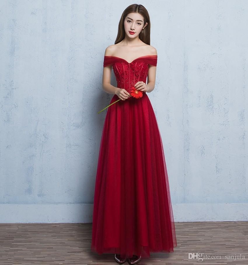 Elegant Off Shoulder Wine Red Long Evening Dresses 2016