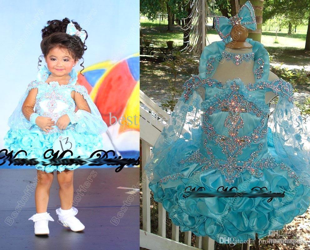 2018 Cupcake Off Paillettes D'épaule Cristal Mini Glitz Fleur Fille Pageant Filles Robes Formelle Petits Enfants Robes De Fête D'anniversaire