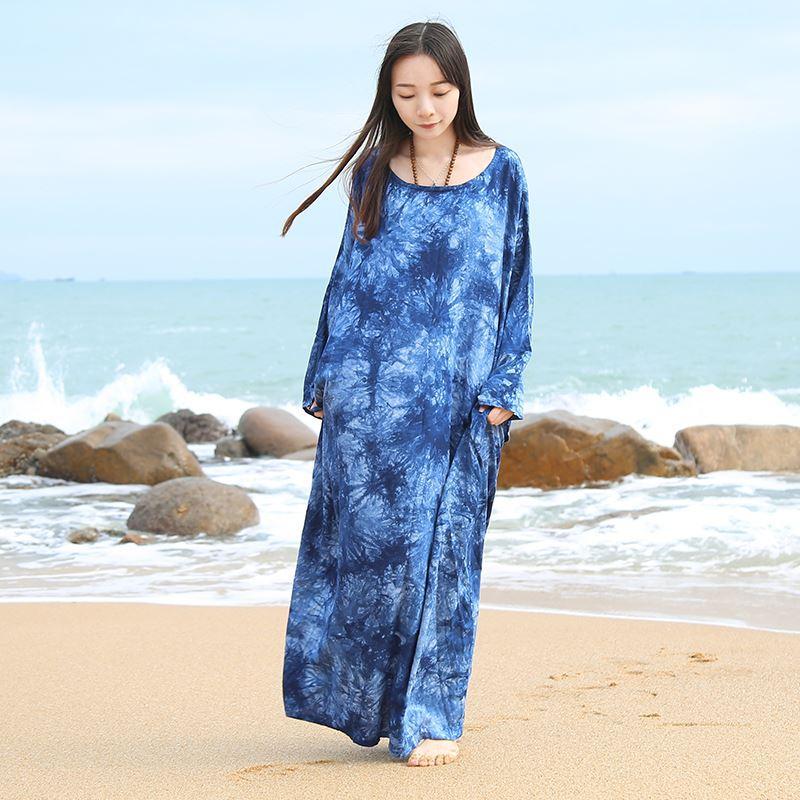 2019 2017 Ethnic Women Dress Batwing Sleeve Beach Maxi Dress Tie Dye
