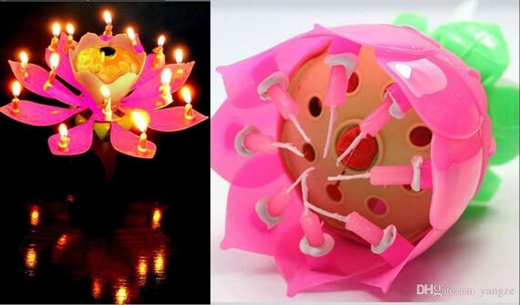 Birthday Party Music Flower Candle New Lotus Candles Happy Flowers Online Shopping