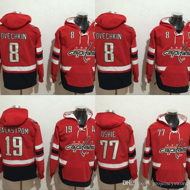 d6cf10a6fed 2019 Mens Washington Capitals Hoodies Jersey 8 Alex Ovechkin 19 Nicklas  Backstrom 77 T.J. Oshie 100% Stitched Sweatshirts Hockey Jerseys From  Projerseysword ...