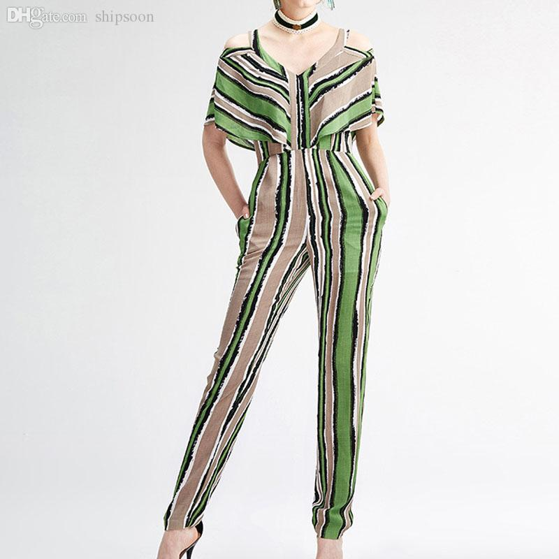 7406b4f56d8 2019 Wholesale Elegant Jumpsuits 2016 New Summer Fashion Brand Cloak Sleeve  Sexy V Neck Green Striped Patchwork Runway Jumpsuits From Amsmart