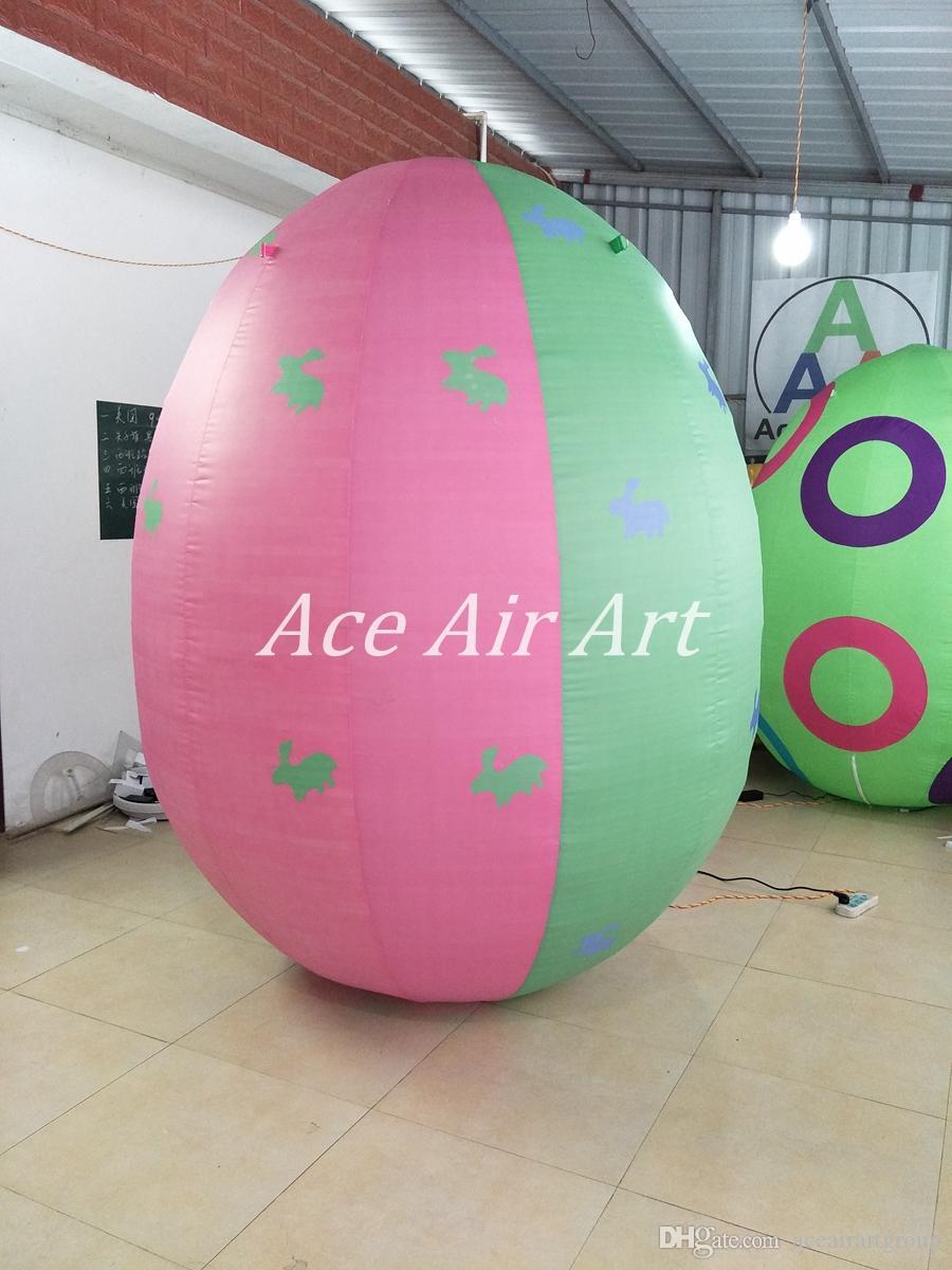 Frete grátis reutilização e fácil instalação 1.2 m H decoração ao ar livre ovos de páscoa infláveis com Led colorido