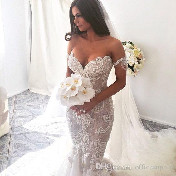 2019 Mermaid Abiti da sposa lunghi Nuovo arrivo Off Spalla Spaccabile a maniche corte perline senza schienale perline Mermaid Tulle Sweep Train Abiti da sposa