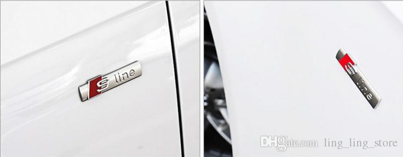 3D Металлические Эмблемы Автомобиля S line Наклейки Обложки Для AUDI A4L A4 A6 A8 Q2 Q3 Q5 Q7 TT Боковые эмблемы Автоаксессуары