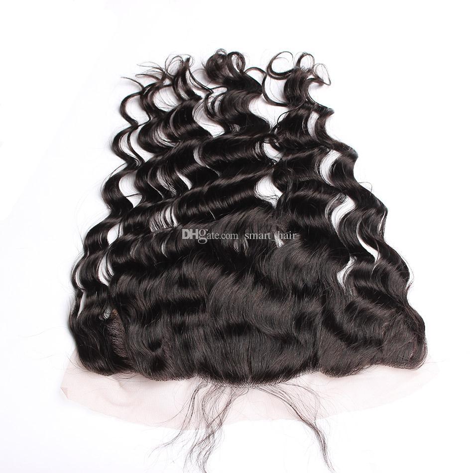느슨한 웨이브 귀에 귀에 전체 레이스 Frontals 13x4 표백 매듭 9A 브라질 인간의 머리카락 레이스 정면 흑인 여성을 위해