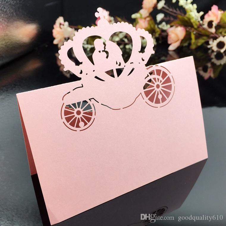 Laser Cut Hollow Crown Car Paper Table Card Number Name Card For Party Wedding Place Card Decorate