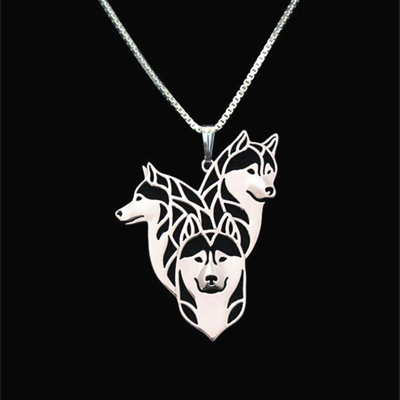 Siberian Husky family Necklace Pendant Silver/Gold Necklaces & Pendants For Women Casual Jewelry Charms Dog Necklace