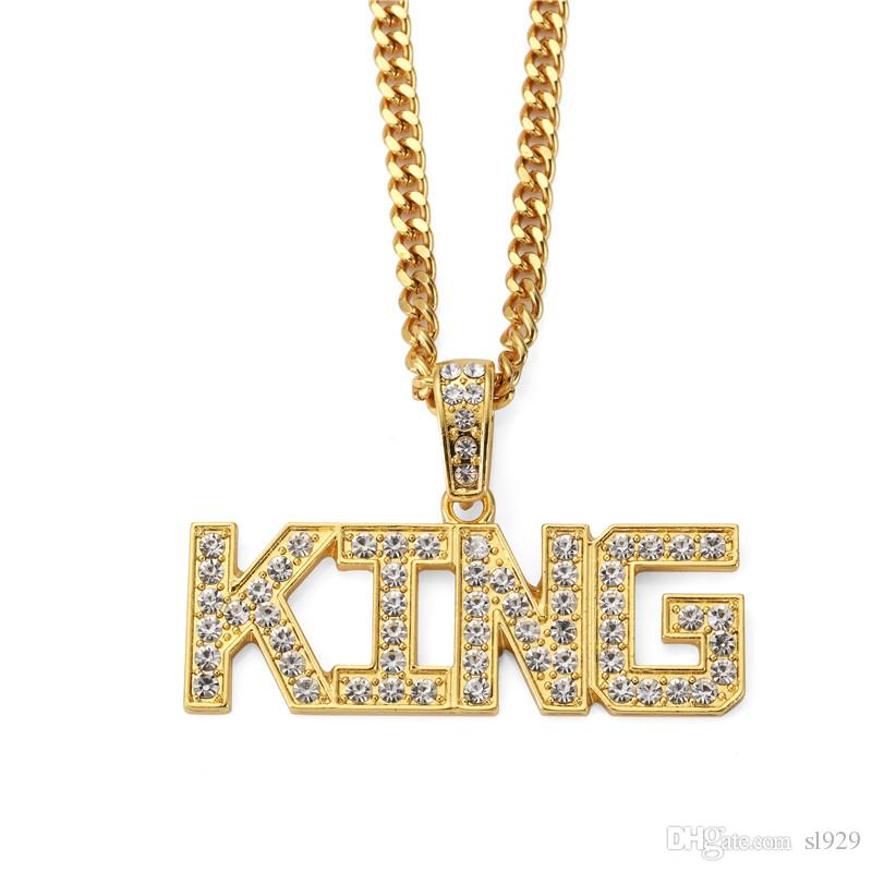 New Fashion Letter Design Pendant Zirconia Necklace American Hip Hop Black Rap Jewelry 18K Thick Gold Plated Necklace Wholesale
