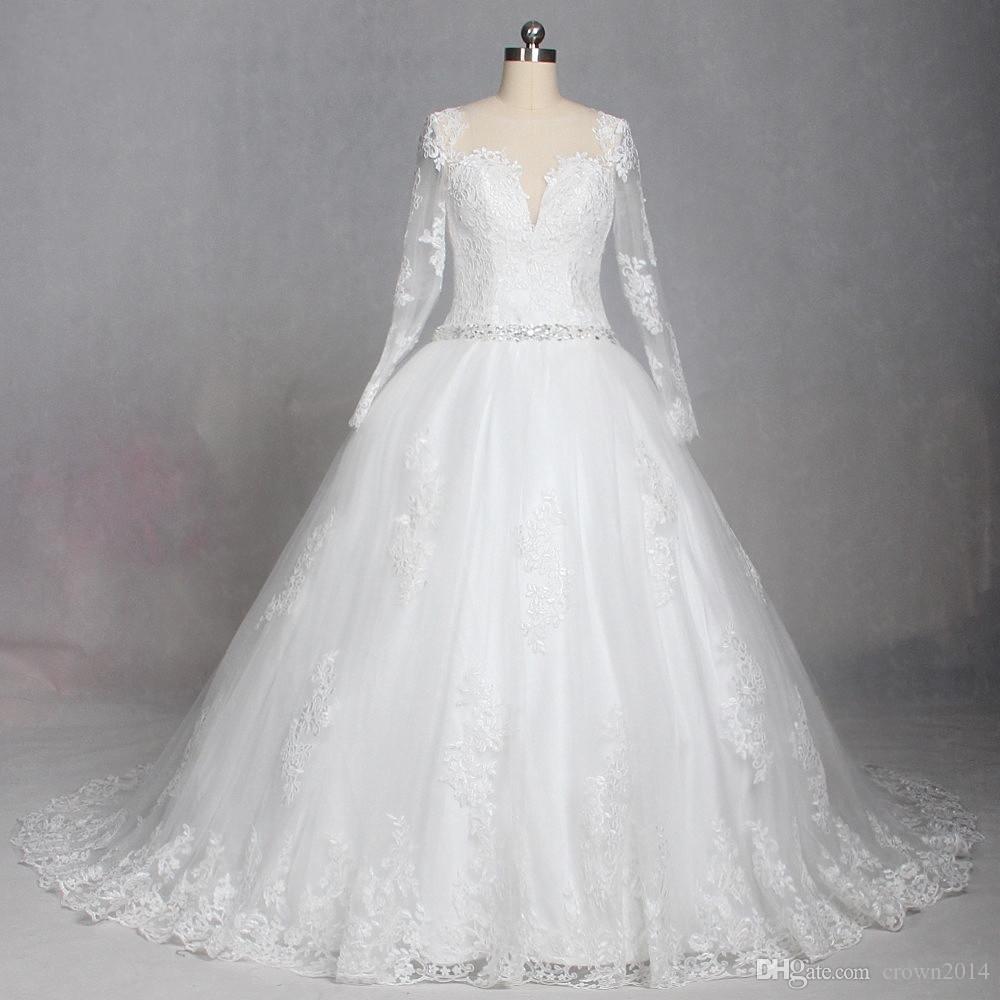 Vintage Lace Ball Gown Wedding Dresses 2018 New Arrival Long Sleeve Sheer Neck  Beaded Tulle Puffy Vestido De Noiva Wedding Gowns Real Photos 2015 Ball Gown  ... 9dfb47118d73