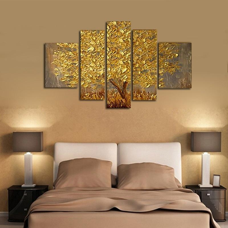 2018 oil paintings on canvas gold and silver tree home for Gold paintings on canvas