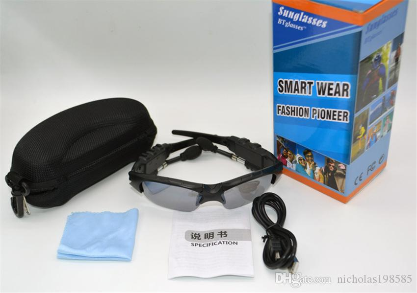 Smart Glasses Bluetooth Sunglasses 4 Colour Sun Glasses Outdoor Sport Headset MP3 Player Cell Phone Wireless Earphones Bluetooth Eyeglasses