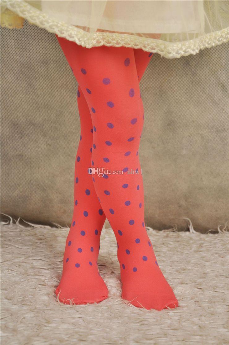 Cute Velvet Pantyhose Tight For Kids Girls Toddler Candy Colors Skinny Polka Dots Jacquard Leggings