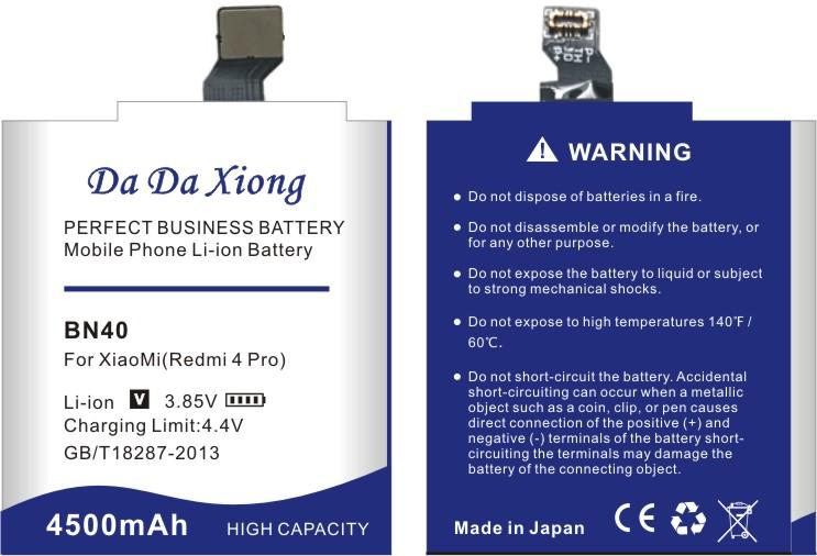 Da Da Xiong 4500mAh BN40 Akku für Xiaomi Redmi 4 Pro für 3G RAM 32G ROM Edition