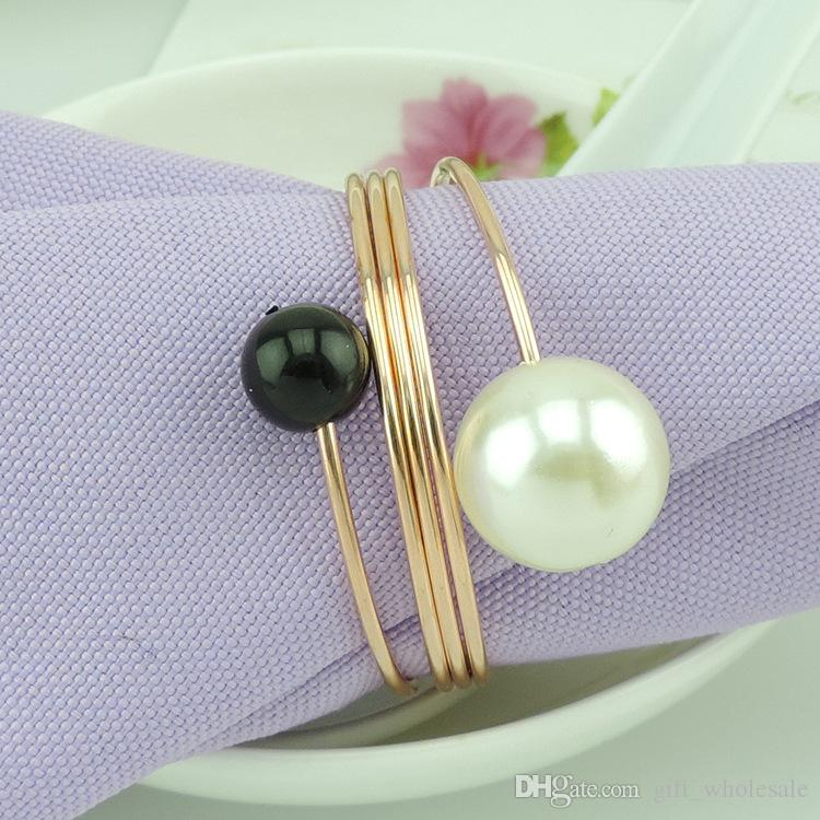 Napkin Rings Wedding Bridal Shower Favour Party decor Round Ring pearl Napkin Rings Hotel Wedding Supplies