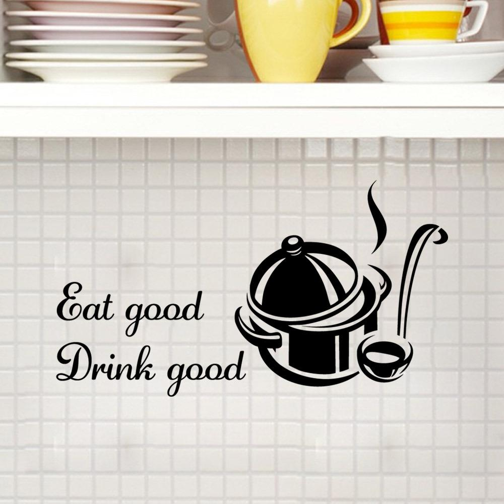 Pot and spoon wall stickers drink and eat wall decals for kitchen diy home decorations wall decals custom wall decals custom wall sticker from fst1688