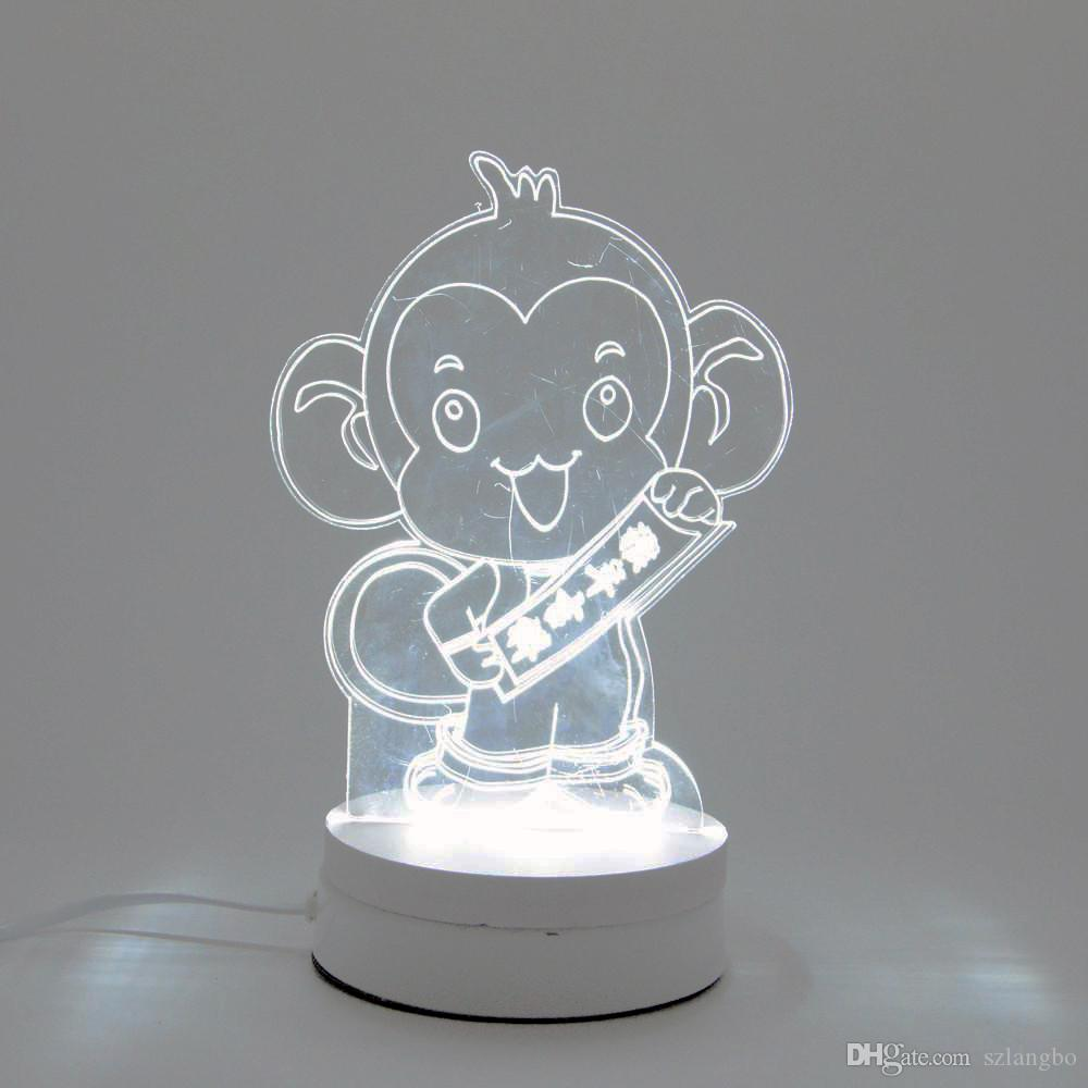 6W Monkey LED Night Light AC220V Input DIY Table Lamp Laser Engraving  Multi-Choice Pattern(3-Color/pcs) on Acrylic 3D Creative Light