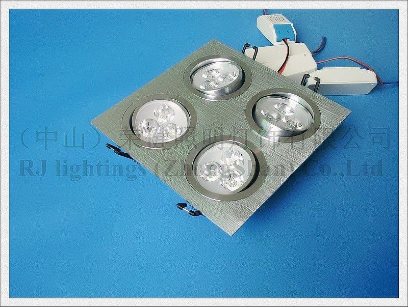 Решетка Светодиодный светильник вниз света потолочный светильник света в помещении 12W 4 * 3W СИД наивысшей мощности шарика AC85-265V алюминий CE
