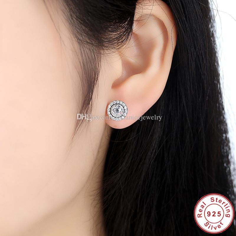 Parlak Legacy Gümüş Saplama Küpe ile Pembe Temizle CZ Orijinal Pandora Stil Küpe Kadınlar için ER028