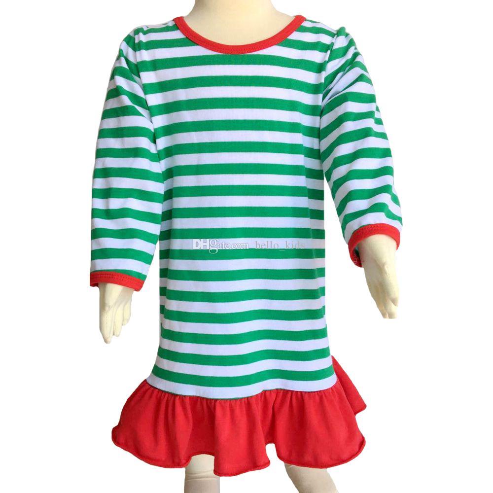 2017 Outono Inverno Bebés Meninas Natal Camisola Vestido Ruffle crianças Meninas Natal Pijama Vermelho e Branco Stripe vestido de algodão Pjs Nightwear
