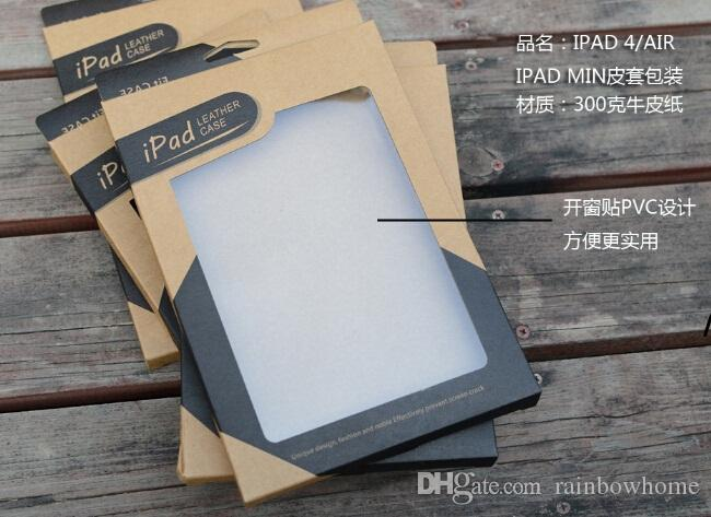 Universal Kraft Brown Paper Retail Box Packaging boxes for 9.7 iPad 6 air 5 6 Air2 5 3 4 7.9 mini 2 PU Leather Case