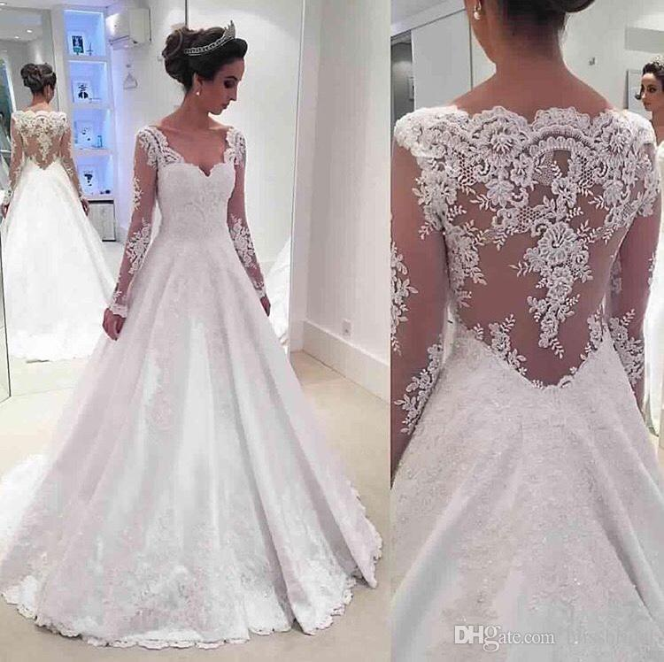 3D-Floral Appliques Beach Wedding Dresses 2016 Sweep Train Wedding Gowns Illusion See-through A-line Wedding Dresses Real Image