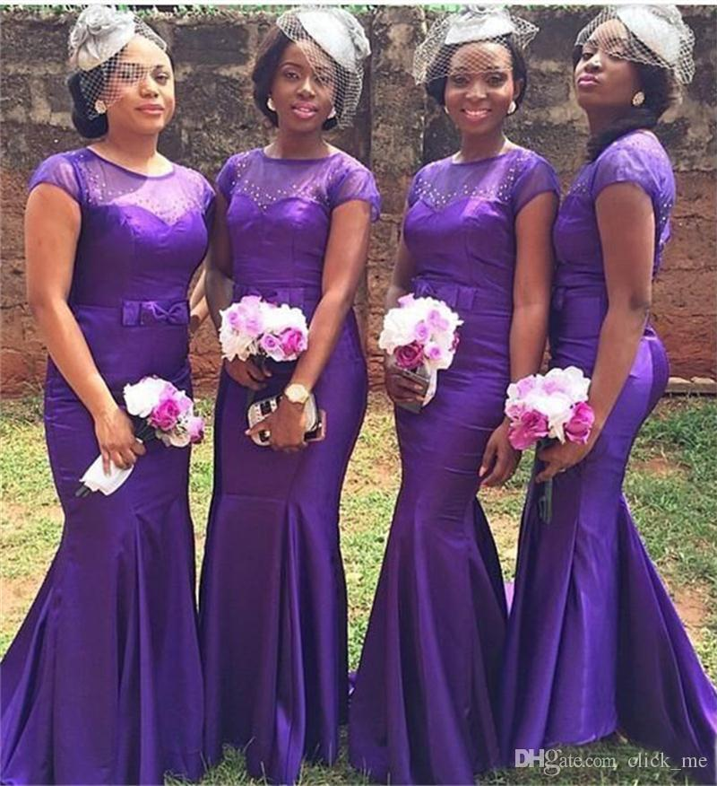 a4709f8257561 Purple Plus Size Bridesmaid Dresses Long Cap Sleeves Beads Mermaid  Bridesmaid Dress With Bow Satin African Vestidos Wedding Guest Dess