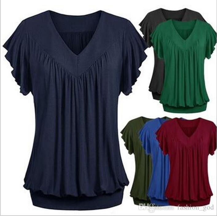 8683787d2195 T-Shirt Plus Size Shirts Short Sleeve Fashion Tops Wrinkly Casual Tees  Loose V Neck Blusas Female Blouse Sexy Summer Women's Clothing B3627