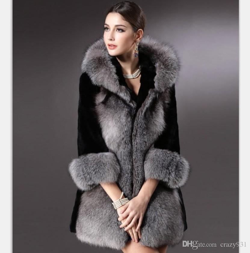 2709e7086 2019 Winter Women Plus Size Faux Fur Coat Fashion Long Jackets Wholesale Silver  Fox Fur Coat Ladies Outwear For Women From Crazy931, $115.58 | DHgate.Com