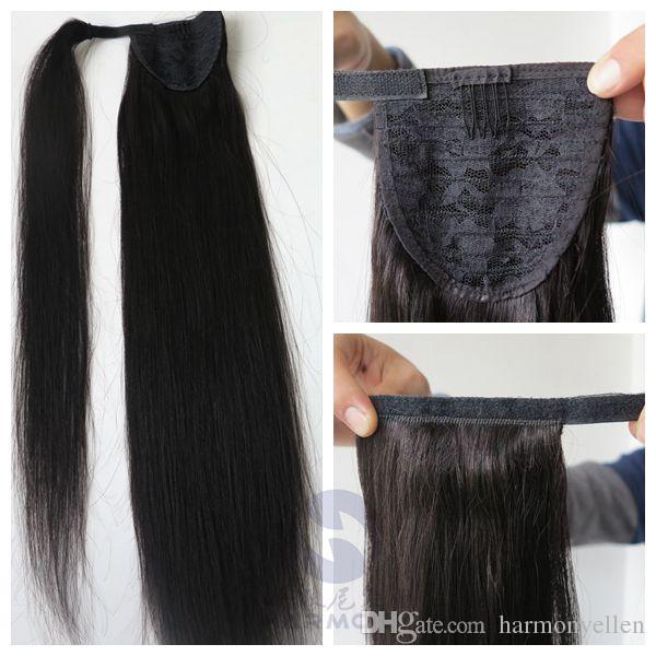100% Rabo de cavalo Cabelo Humano desembaraçar o cabelo 20 22 polegadas 100g Reta Extensões de Cabelo Indiano Brasileiro mais cores