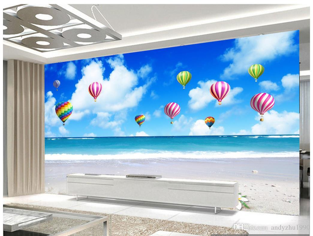 3D Fototapete benutzerdefinierte 3d Wand Wandbilder Tapete Wandbild Blauer Himmel weißen Himmel Heißluftballon TV Wand Papier Wohnzimmer Tapete Dekoration