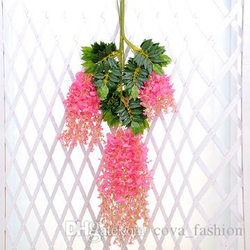 Artificial Wisteria Vine Rattan 110cm 75cm Decorative Bouquet Garlands Artificial Flowers for Party Wedding Home Dec.