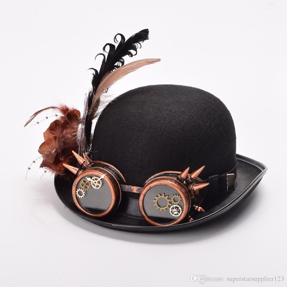 Donne / Uomini Vintage Steampunk Hat Feathers Gear Occhiali Decorazione Gothic Black Hat Headwear Stile vittoriano di alta qualità
