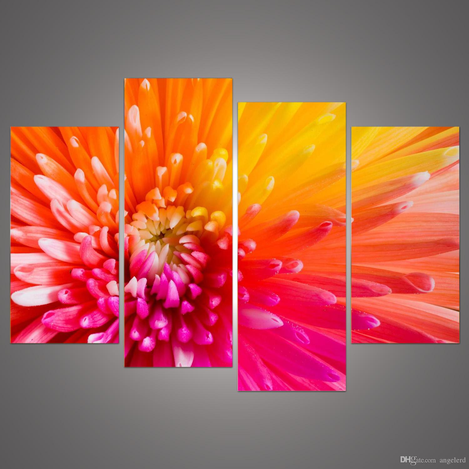 2018 modern home decoration wall decor art picture for living room pink orange flower canvas print oil painting on canvas no frame h 210 from angelerd