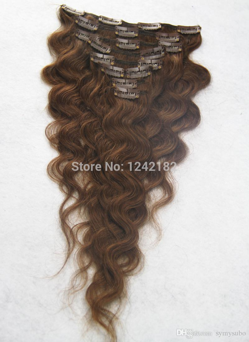 Clip In Hair Extension 100% Brazilian Human Hair 7A Unprocessed Virgin Body Wave Puer Color Clip In Hair 10-30""