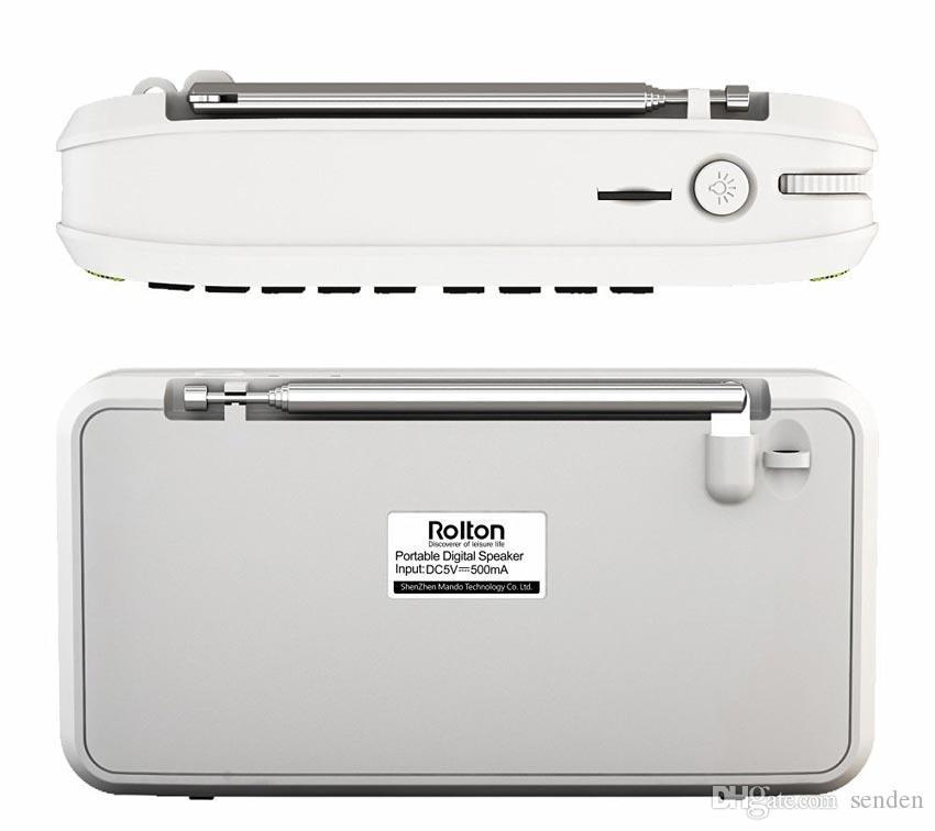 La caja mini-bluetooth más nueva de Wholesale-Rolton E500, soporta llamadas de teléfono Bluetooth / TF / MP3 / FM / auriculares / luz LED / grabar