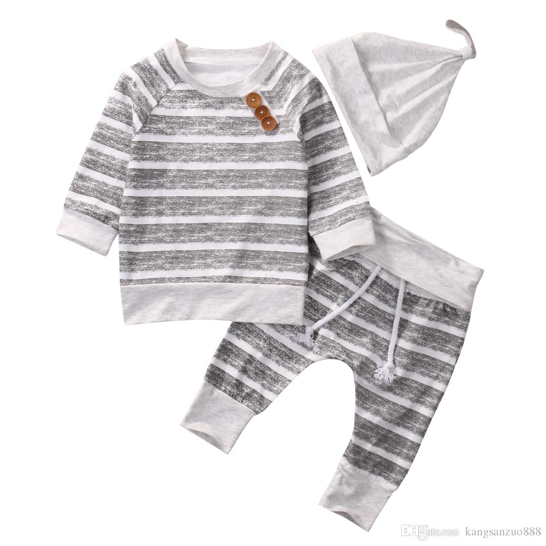 Casual Striped Baby Clothes Set Newborn Infant Bebes Boys Girls Long Sleeve T-shirt TOPS + Pant+Hat Outfit Bebek Giyim Tracksuit