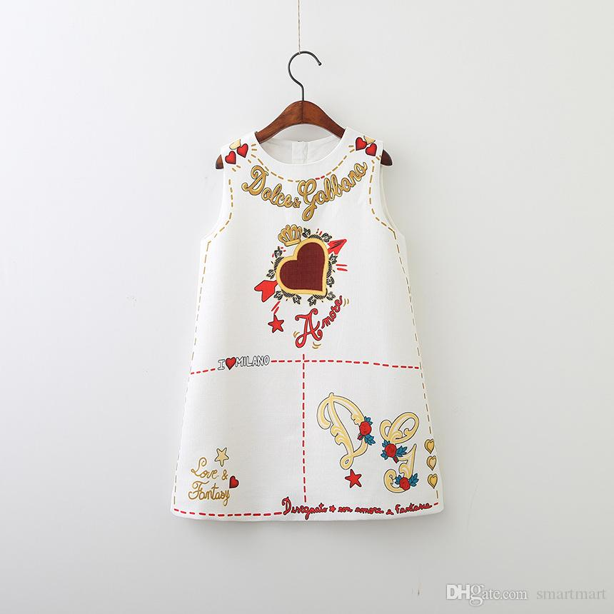 Everweekend Girls Love Printed A-Line Dress Vintage Korea Sweet Baby Clothing Autumn Winter Lovely Children Clothes