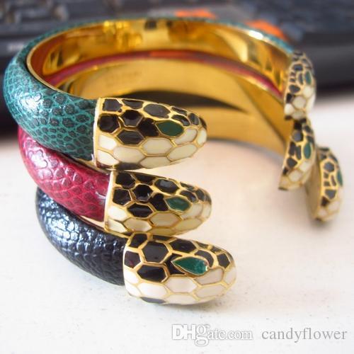 Новая мода браслет из кожи манжеты браслет из нержавеющей стали 316L дизайнерские украшения 18-каратного желтого золота для женщин