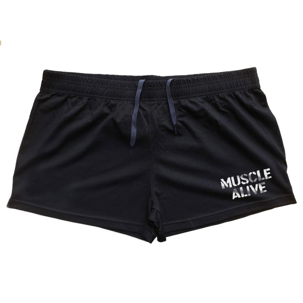"""Men Bodybuilding Shorts Fitness Workout 3"""" Inseam Gyms Shorts Bottom Cotton Male MUSCLE ALIVE Elastic Waist Fashion Shorts"""
