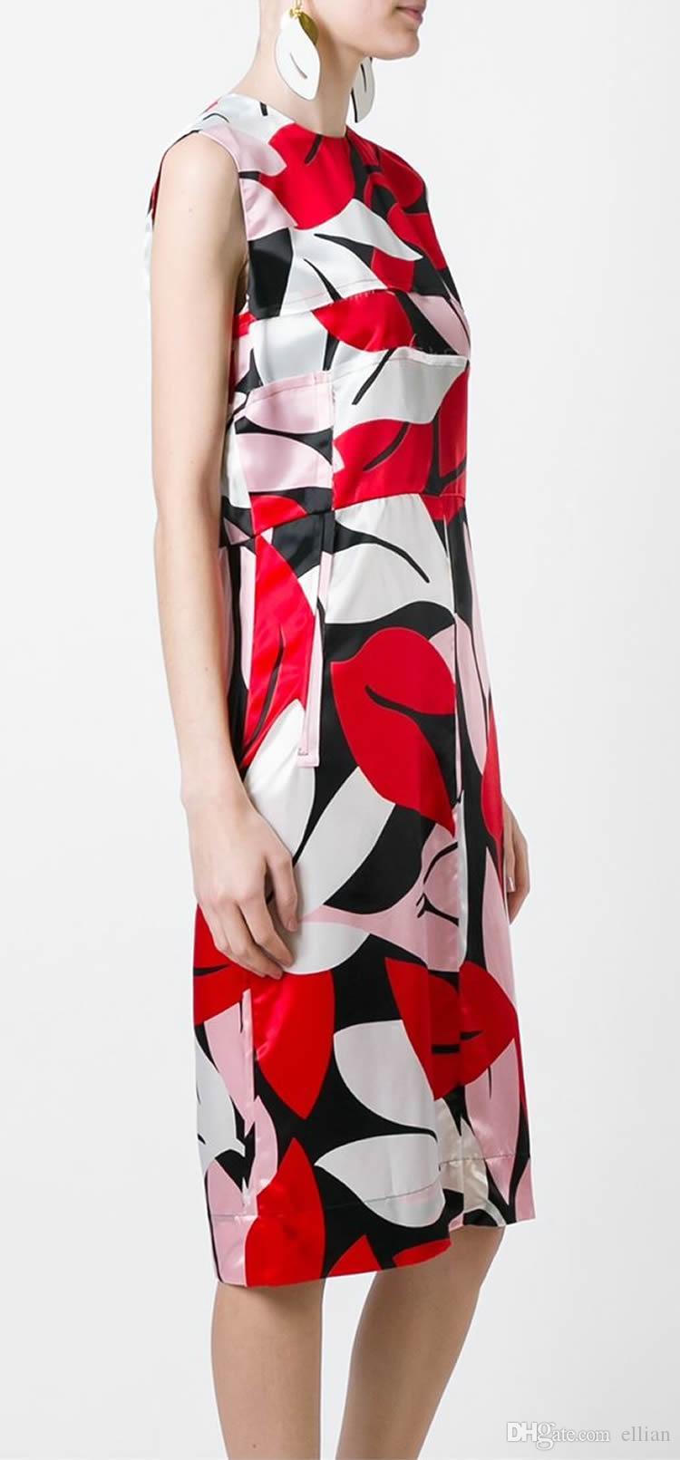 패션 프린트 여성 시즈 드레스 라운드 넥 민소매 캐주얼 드레스 064A620