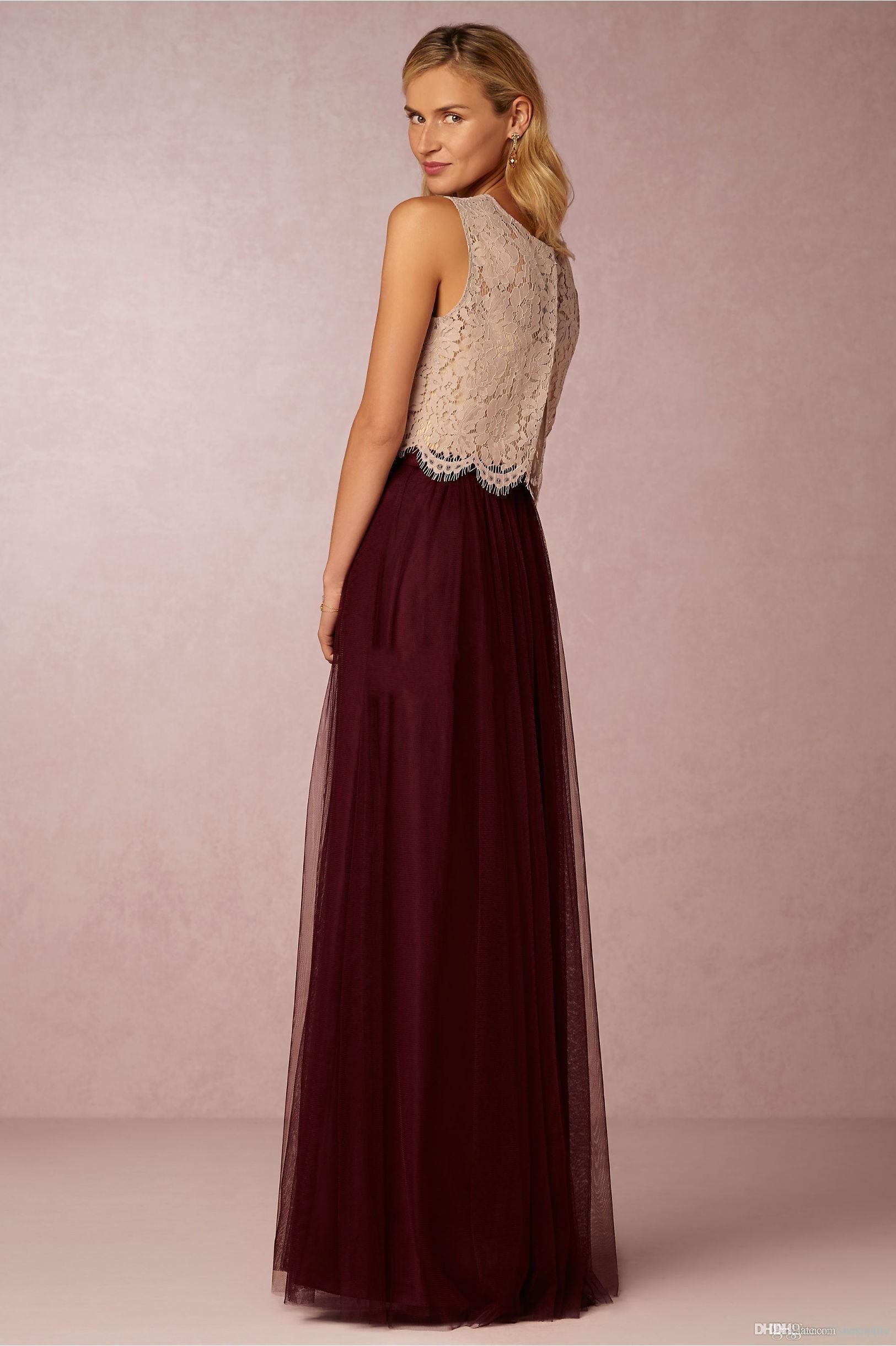 2020 Deux Vintage Crop Top Pieces Robes de mariée Tulle froncé longueur au fard à joues Menthe gris de demoiselle d'honneur Robes en dentelle Robes de soirée de mariage