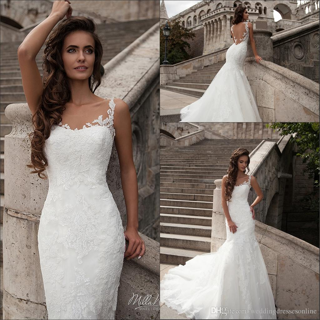 Milla Nova 206 Lace Mermaid Wedding Dresses Formal Girls Spaghetti Straps Sleeveless Chapel Train Church Bridal Dress Gowns Custom Made Styles