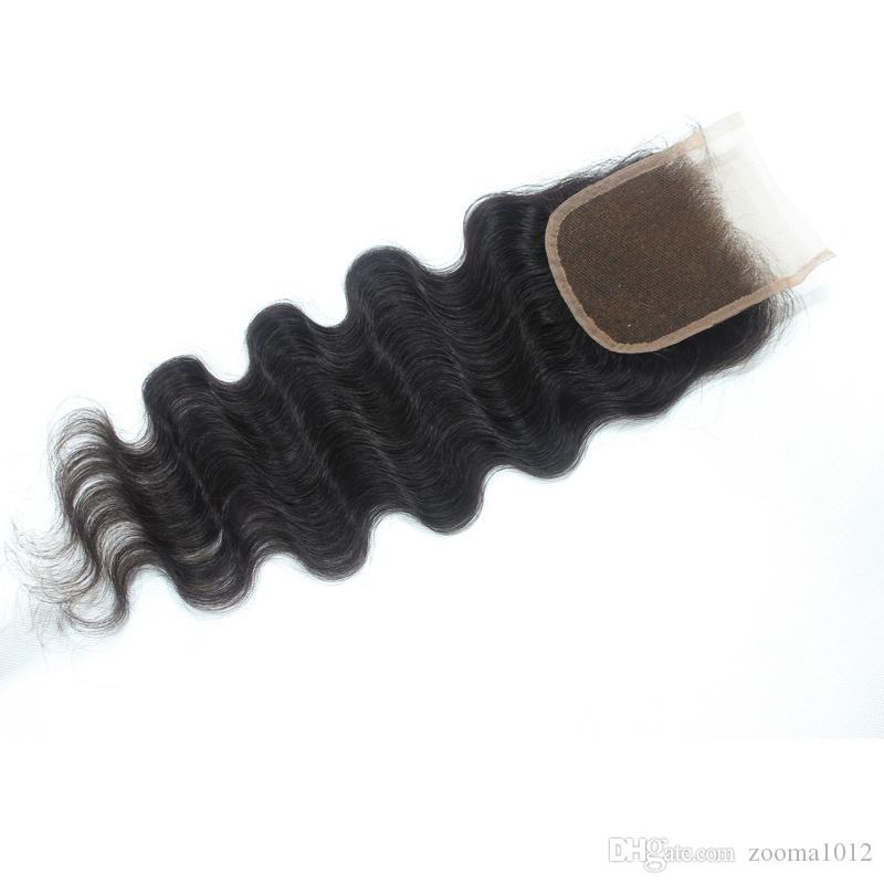 5 * 5 capelli umani brasiliani di Remy 100% parte superiore del corpo o parte superiore ondulata del corpo Chiusure dei capelli del merletto 10